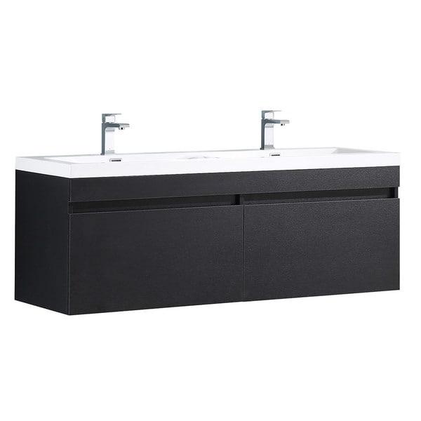 Fresca Largo Black Modern Bathroom Cabinet w/ Integrated Sinks