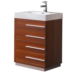 Fresca Livello 24-inch Teak Modern Bathroom Cabinet with Integrated Sink