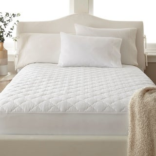 Amrapur Overseas 400 Thread Count 100-Percent Cotton Solid Waterproof Quilted Mattress Pad - White