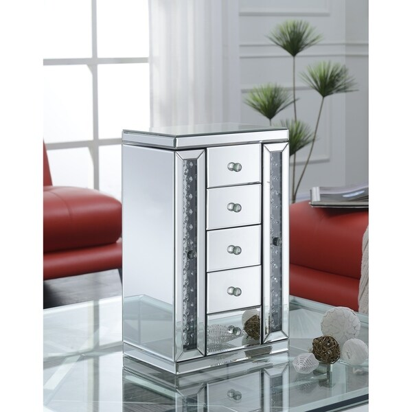 7528ac711 Shop Best Quality Furniture Mirrored 5-drawer Jewelry Box with Crystal  Accent - Free Shipping Today - Overstock - 17663875