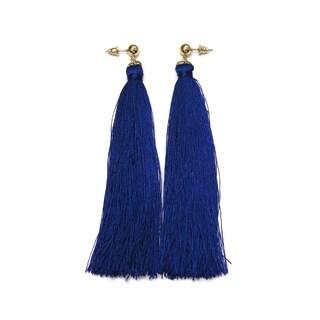 Eternally Haute Blue Tassel Drop Earrings