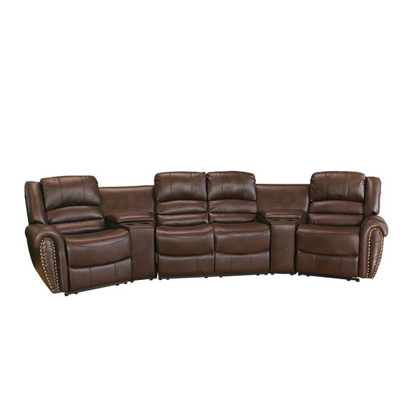 Lyke Home Abigail Brown Leather Gel Movie Theater Recliner Seats