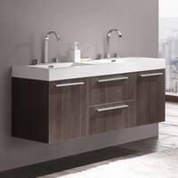 Fresca Opulento Grey Oak Modern Double Sink Bathroom Cabinet w/ Integrated Sinks