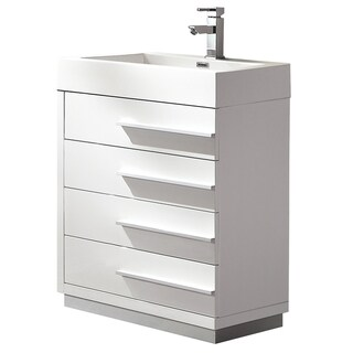 Fresca Livello 24-inch White Modern Bathroom Cabinet with Integrated Sink
