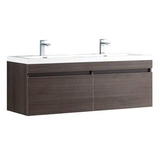 Fresca Largo Grey Oak Modern Double Sink Bathroom Cabinet w/ Integrated Sinks