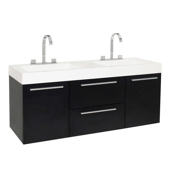 Fresca Opulento Black Modern Double Sink Bathroom Cabinet w/ Integrated Sinks