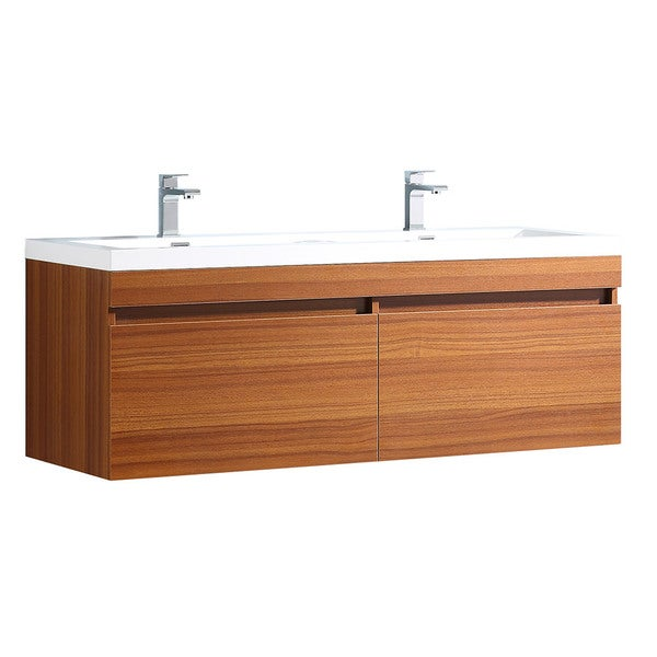 Fresca Largo Teak Modern Double Sink Bathroom Cabinet W/ Integrated Sinks