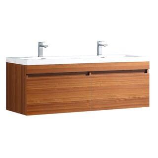 Fresca Largo Teak Modern Double Sink Bathroom Cabinet w/ Integrated Sinks