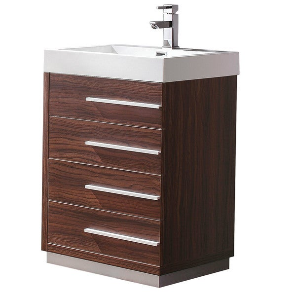 Fresca Livello 24-inch Walnut Modern Bathroom Cabinet with Integrated Sink