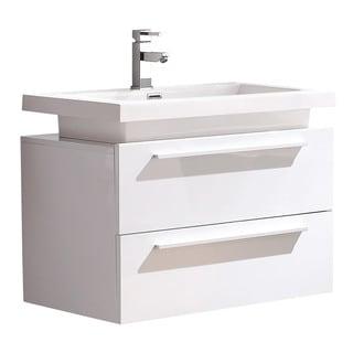 Fresca Medio White Modern Bathroom Cabinet w/ Vessel Sink