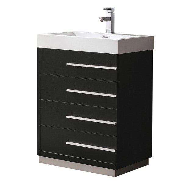 Shop Fresca Livello 24-inch Black Modern Bathroom Cabinet With Integrated Sink