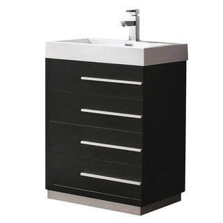 Fresca Livello 24 Inch Black Modern Bathroom Cabinet With Integrated Sink