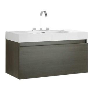 Fresca Mezzo Grey Oak Modern Bathroom Cabinet with Integrated Sink