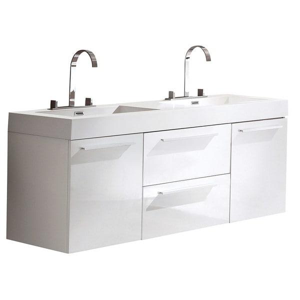 Fresca Opulento White Modern Double Sink Cabinet W/ Integrated Sinks