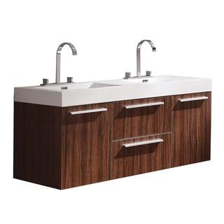 Fresca Opulento Walnut Finish Modern Double Sink Cabinet with Integrated Sinks