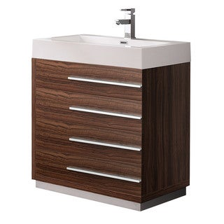Fresca Livello 30-inch Walnut Modern Bathroom Cabinet with Integrated Sink