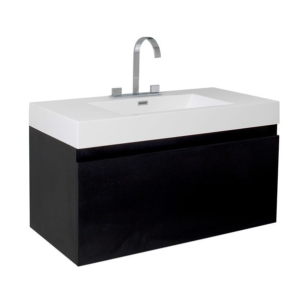 Fresca Mezzo Black Modern Bathroom Cabinet with Integrated Sink