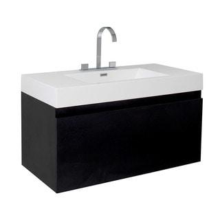 Fresca Mezzo Black Modern Bathroom Cabinet with Integrated Sink