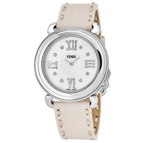 Fendi Women's 'Selleria' Mother of Pearl Diamond Dial Sand Leather Strap Swiss Quartz Watch