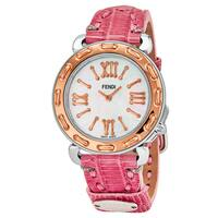 Fendi Women's  'Selleria' Mother of Pearl Dial Pink Leather Strap Swiss Quartz Watch