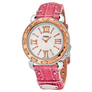 Fendi Women's F8002345H0.TS07 'Selleria' Mother of Pearl Dial Pink Leather Strap Swiss Quartz Watch