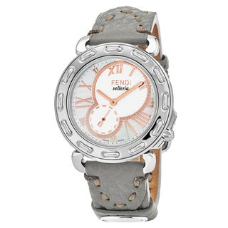 Fendi Women's F81334H.SSD6S 'Selleria' Mother of Pearl Dial Grey Leather Strap Swiss Quartz Watch