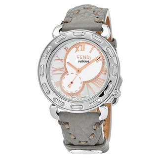 Fendi Women's F81334H.SSD6S 'Selleria' Mother of Pearl Dial Grey Leather Strap Swiss Quartz Watch|https://ak1.ostkcdn.com/images/products/17664005/P23874339.jpg?impolicy=medium