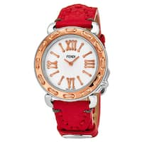 Fendi Women's F8002345H0.SSK7 'Selleria' Mother of Pearl Dial Red Leather Strap Swiss Quartz Watch