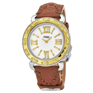 Fendi Women's F8001345H0.SSF2 'Selleria' Mother of Pearl Dial Beige Leather Strap Swiss Quartz Watch