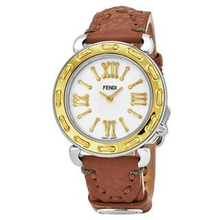 Fendi Women's 'Selleria' Mother of Pearl Dial Beige Leather Strap Swiss Quartz Watch