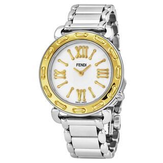 Fendi Women's 'Selleria' Mother of Pearl Two Tone Stainless Steel Swiss Quartz Watch