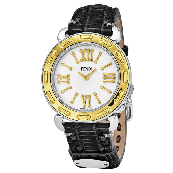 Fendi Women's F8001345H0.TS01 'Selleria' Mother of Pearl Dial Black Leather Strap Swiss Quartz Watch
