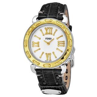 Fendi Women's 'Selleria' Mother of Pearl Dial Black Leather Strap Swiss Quartz Watch