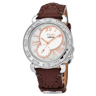 Fendi Women's F81334H.SSL7S 'Selleria' Mother of Pearl Dial Bordeaux Leather Strap Swiss Quartz Watch