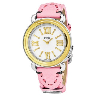 Fendi Women's F8011345H0.SSJ7 'Selleria' Mother of Pearl Dial Pink Leather Strap Swiss Quartz Watch