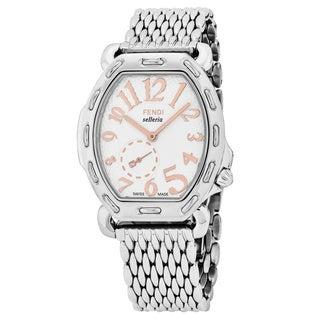 Fendi Women's F84334H.BR8153 'Selleria' White Dial Stainless Steel Swiss Quartz Watch