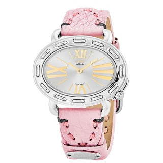 Fendi Women's F83236H.SSJ7S 'Selleria' Silver Dial Pink Leather Strap Oval Swiss Quartz Watch