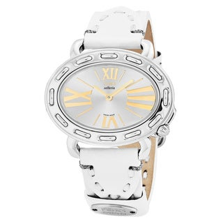 Fendi Women's F83236H.PS04S 'Selleria' Silver Dial White Leather Strap Oval Swiss Quartz Watch
