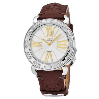 Fendi Women's F81236H.SSL7S 'Selleria' Silver Dial Bordeaux Leather Strap Swiss Quartz Watch