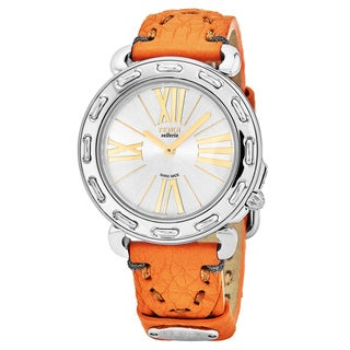 Fendi Women's F81236H.SSB9S 'Selleria' Silver Dial Orange Leather Strap Swiss Quartz Watch