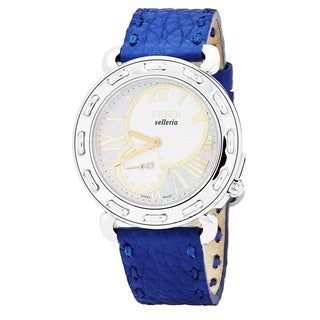 Fendi Women's F81234H.SSNC3S 'Selleria' Mother of Pearl Dial Blue Leather Strap Swiss Quartz Watch