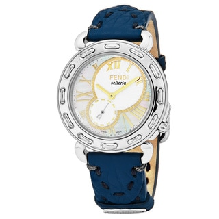 Fendi Women's F81234H.SSH3S 'Selleria' Mother of Pearl Dial Blue Leather Strap Swiss Quartz Watch
