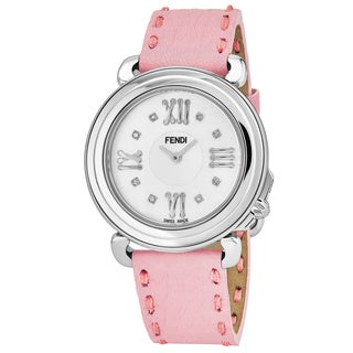 Fendi Women's F8010345H0D1.07 'Selleria' Mother of Pearl Diamond Dial Pink Leather Strap Swiss Quartz Watch