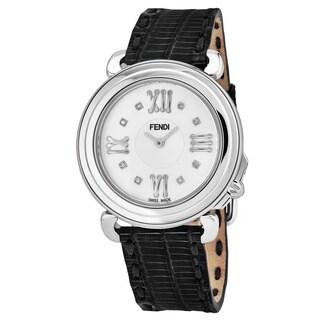 Fendi Women's F8010345H0D1.01 'Selleria' Mother of Pearl Diamond Dial Black Leather Strap Swiss Quartz Watch