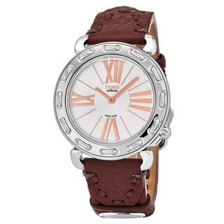 Fendi Women's F81336H.SSL7S 'Selleria' Silver Dial Bordeaux Leather Strap Swiss Quartz Watch