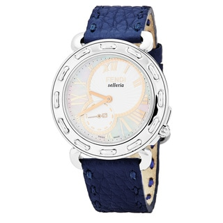 Fendi Women's F81334H.SSN03S 'Selleria' Mother of Pearl Dial Navy Blue Leather Swiss Quartz Watch