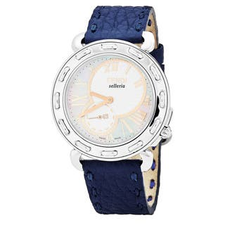 Fendi Women's F81334H.SSN03S 'Selleria' Mother of Pearl Dial Navy Blue Leather Swiss Quartz Watch|https://ak1.ostkcdn.com/images/products/17664050/P23874364.jpg?impolicy=medium
