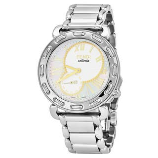 Fendi Women's F81234H.BR8653 'Selleria' Mother of Pearl Dial Stainless Steel Swiss Quartz Watch|https://ak1.ostkcdn.com/images/products/17664052/P23874366.jpg?impolicy=medium