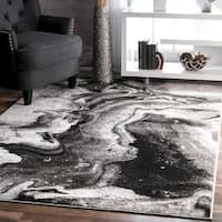 nuLOOM Contemporary Abstract Grey Rug (4' x 6') - 4' x 6'