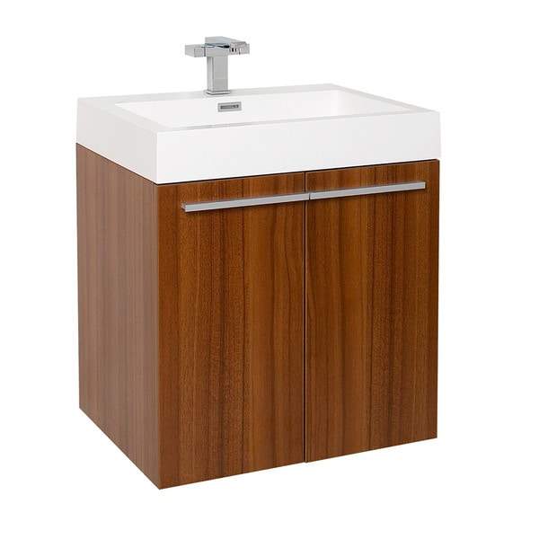 Fresca Alto Teak Modern Bathroom Cabinet w/ Integrated Sink